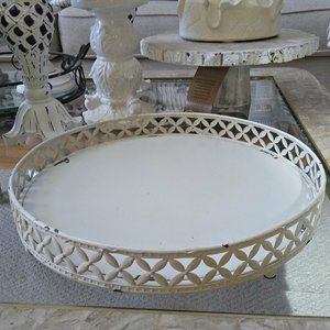 DISTRESSED SHABBY Cottage CHIC Metal DISPLAY TRAY